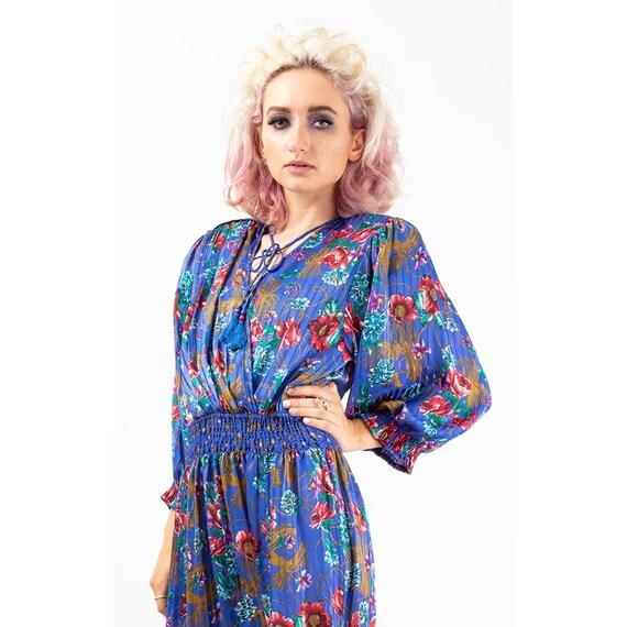 Vintage Diane Freis dress / 1980s Royal blue shee… - image 5
