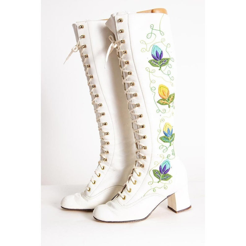 Vintage 1960s white leather granny boots / Penny Lane Almost image 0