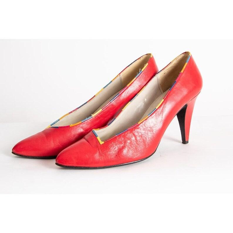 Vintage red leather pumps rainbow trim / 1980s high heel shoe image 0