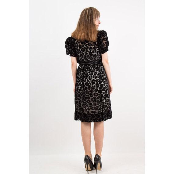 1930s dress / Vintage 30s Black silk velvet burno… - image 9