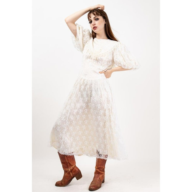 Vintage Gunne Sax by Jessica McClintock / 1980s does 20s lace image 0