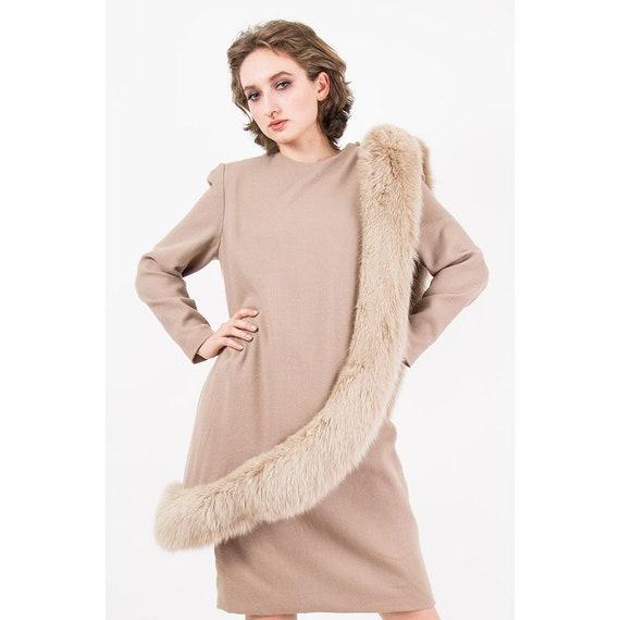 Vintage Travilla fox fur dress / 1980s wool sheat… - image 2