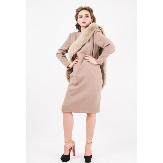 Vintage Travilla fox fur dress / 1980s wool sheat… - image 6