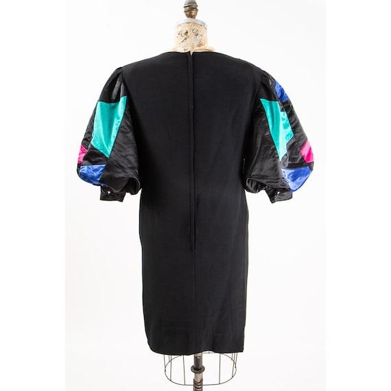 Vintage puff statement sleeve dress / 1980s Rober… - image 8