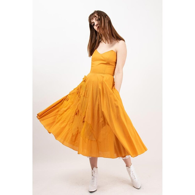 Vintage cotton sundress / 1970s marigold yellow strapless image 0