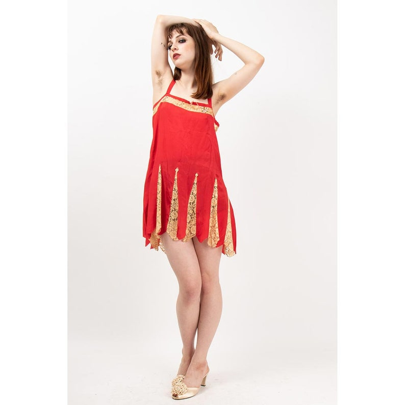 1920s silk slip / Vintage lipstick red chemise / Lace godets / image 0