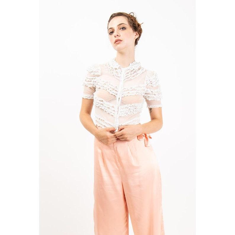 1930s white blouse / Vintage sheer net lace crop top / XXS image 0