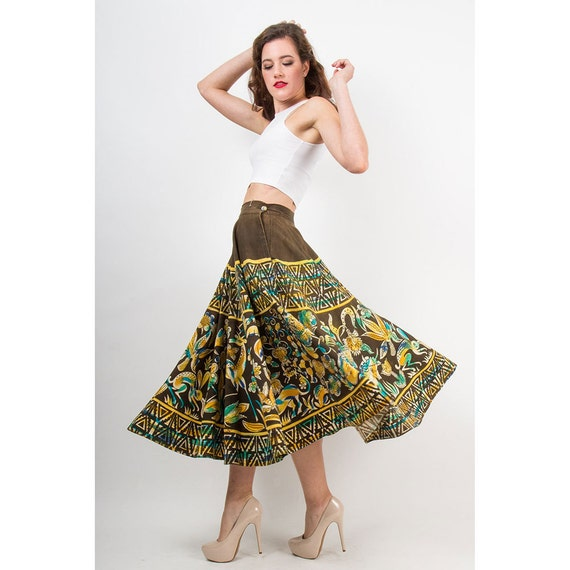 Vintage Mexican circle skirt / 1950s Hand painted