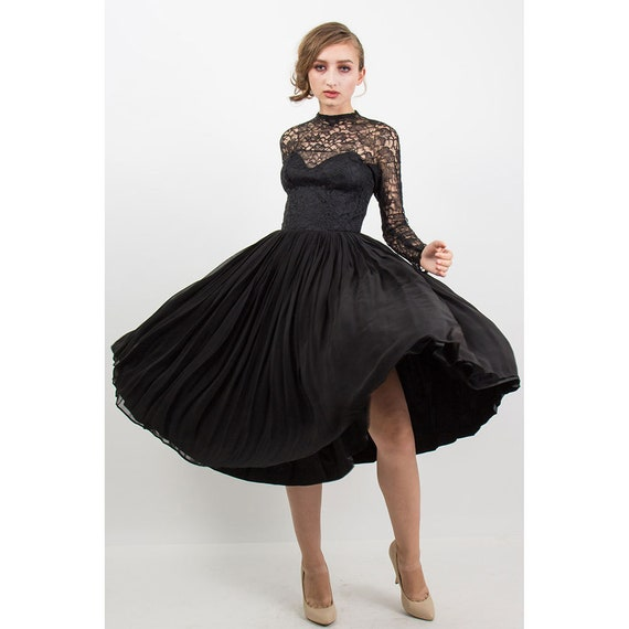 Vintage Suzy PERETTE 1950s black lace sheer illusion dress Cocktail dress S
