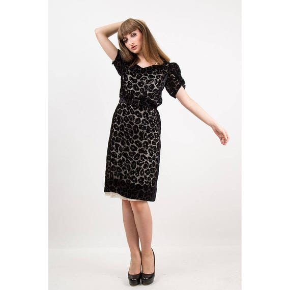 1930s dress / Vintage 30s Black silk velvet burno… - image 7