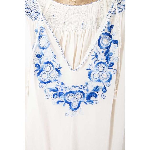 Vintage  Hungarian peasant blouse/ 1930s white ra… - image 3
