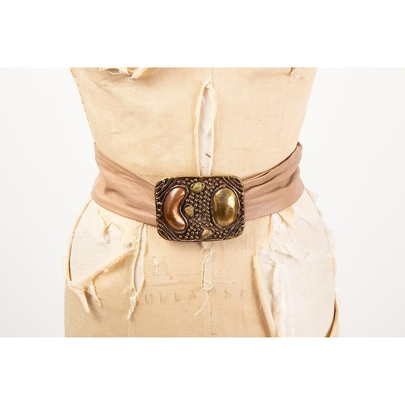 Vintage brutalist style brass belt/ 1980s Adjustable leather image 0