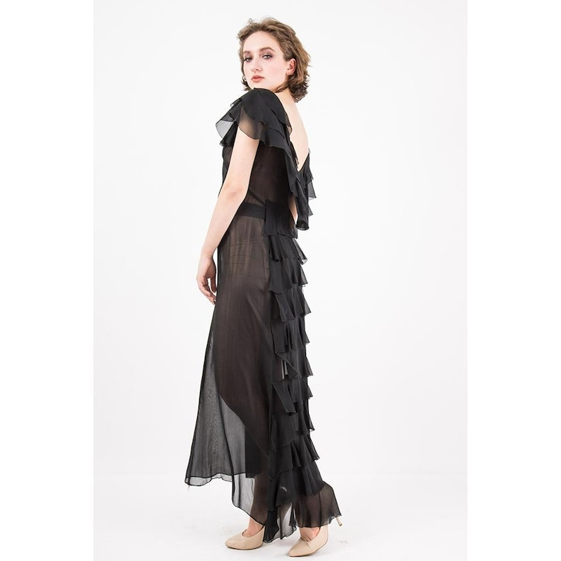 1930s evening gown / Vintage sheer black chiffon ruffle dress image 0