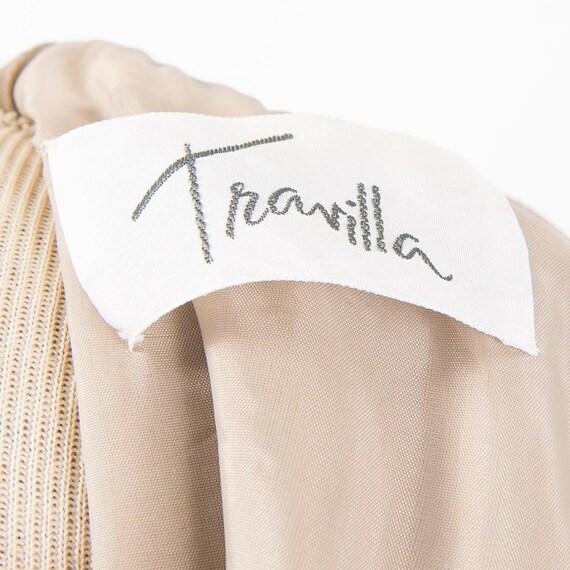 Vintage Travilla fox fur dress / 1980s wool sheat… - image 9
