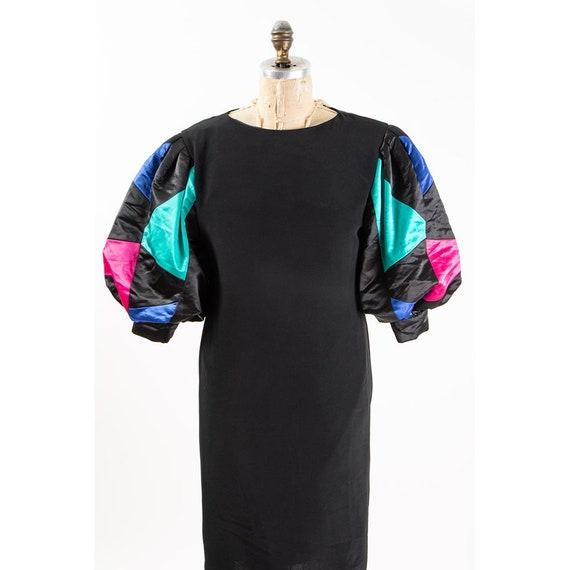Vintage puff statement sleeve dress / 1980s Rober… - image 4