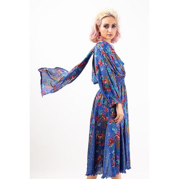 Vintage Diane Freis dress / 1980s Royal blue shee… - image 7