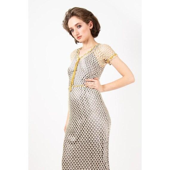 1930s dress / Vintage crochet gown / Cream open we