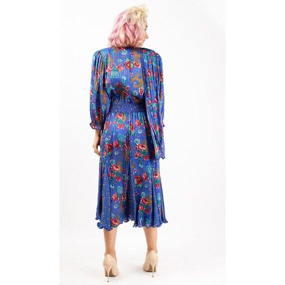 Vintage Diane Freis dress / 1980s Royal blue shee… - image 9