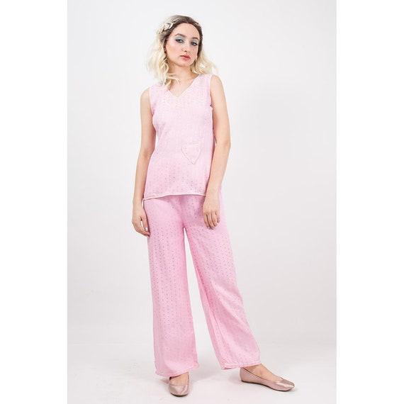 1930s Pajamas   Vintage pale pink rayon 2 piece pyjama set    c64bb1486