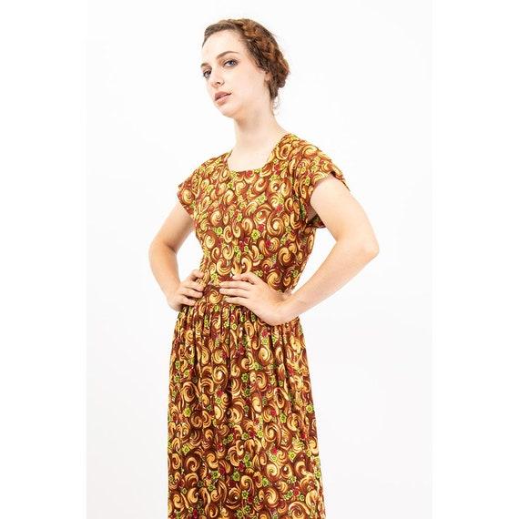 1940s dress / Vintage rayon jersey novelty floral… - image 9