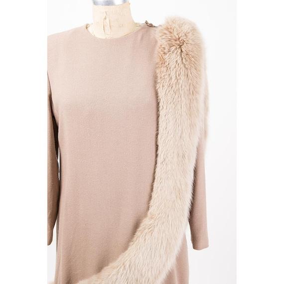 Vintage Travilla fox fur dress / 1980s wool sheat… - image 3