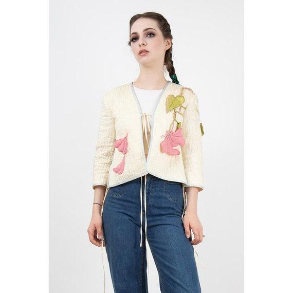 Vintage Bill Gibb silk applique jacket / 1970s Mus