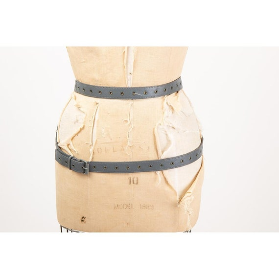 Vintage leather belt / 1980s extra long wrap fetis