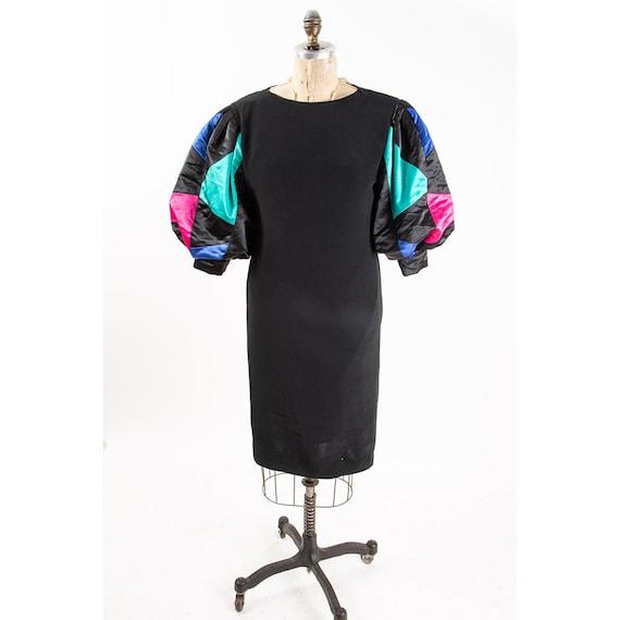 Vintage puff statement sleeve dress / 1980s Rober… - image 3