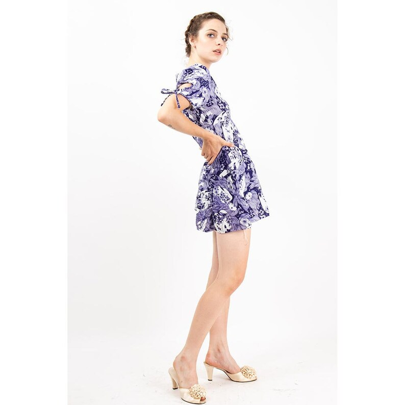 Vintage micro mini fit and flare dress with matching bloomer image 0