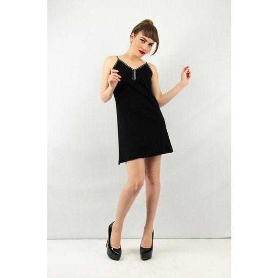 Vintage PARAPHERNALIA dress / 1960s Black micro mi