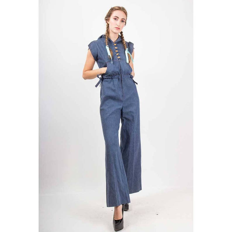 9338c6a9a4f3 Vintage denim jumpsuit with hood   1970s hoodie bell bottom