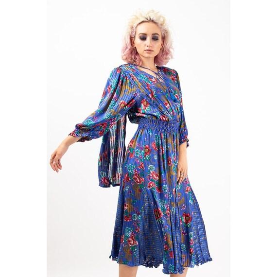 Vintage Diane Freis dress / 1980s Royal blue shee… - image 3