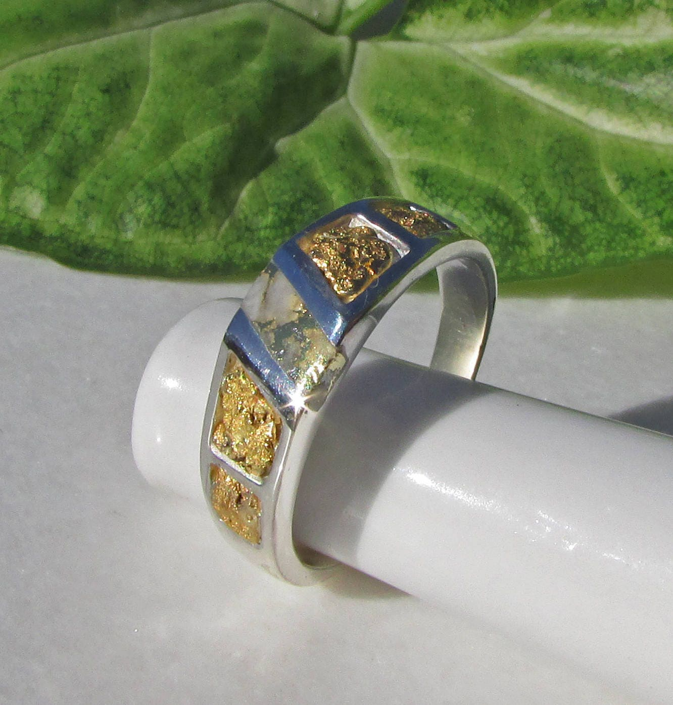 3721736c3fb63 Gold Nugget Men's Ring, Gold Veined Quartz, Rustic Gold Nugget Ring,  Natural Gold Bearing Quartz, Available in Sterling Silver or 14k Gold