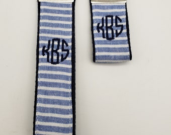Blue and White Seersucker Monogrammed Key Fob FREE SHIPPING!!