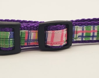 Small Pet Preppy 5/8 in wide adjustable personalized collar. Pick Your Colors! PERSONALIZE IT !