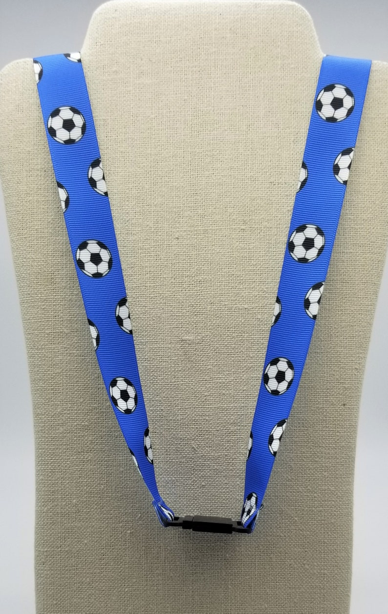 Personalized Royal Blue soccer lanyard wlobster clasp /& safety breakaway FREE SHIPPING!