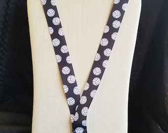 Personalized black and white volleyball lanyard w/ lobster clasp & safety breakaway FREE SHIPPING!