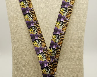 LSU Inspired Lanyard with safety breakaway & metal lobster claw  FREE SHIPPING!