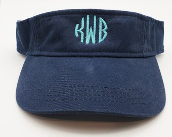 Monogrammed Adjustable Visor.  Pick your font and your colors!