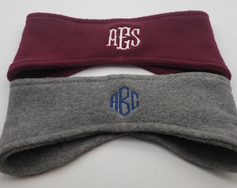 Personalized Monogrammed Fleece Ear Warmers. Pick your color and pick your font. FREE SHIPPING!