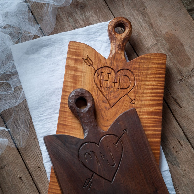 Custom Wedding Shower Gift Personalized Breadboard Walnut Carved Board Serving Board Custom Cutting Board