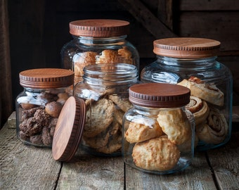 Wood Pantry Jar Lids, Covers for Glass Jars, Wood Lids for Anchor Hocking Cracker Jars, Kitchen Storage, Hostess Gift