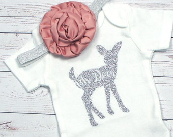 Oh deer baby girl set, baby girl outfit, coming home outfit, baby shower gift, going home outfit, oh deer i'm here, coming home set,