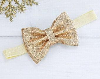 Gold Headband - Gold Baby Headband - Gold Bow Headband - Baby Headband - Baby Girl Headband - Infant Headband - Newborn Headband