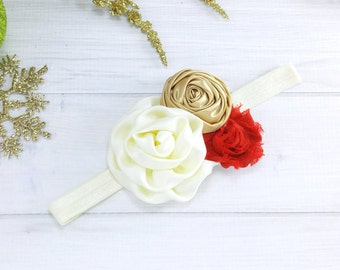 Baby Red and Gold Headband - Newborn Red and Gold Headband - Infant Headband - Newborn Headband - Baby Headband -  Headband - Red and Gold