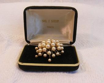 Elegant Cultured Freshwater Pearl Gold Vermeil Brooch Pin