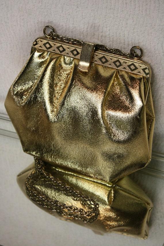 Gold Lamé Formal Evening Bag, Clutch, Purse