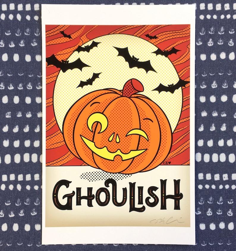 Six Vintage Look jack O Lanterns Halloween Moon Bats Flying  Art Wall Print