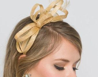 Mini Champagne Gold Fascinator - Flitter-by Mesh Fascinator Headband b879a2c2002
