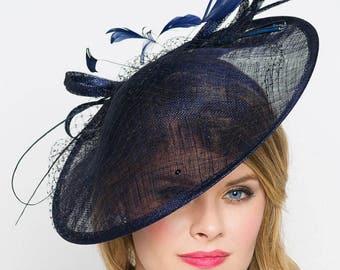 Navy Blue Fascinator Hat -
